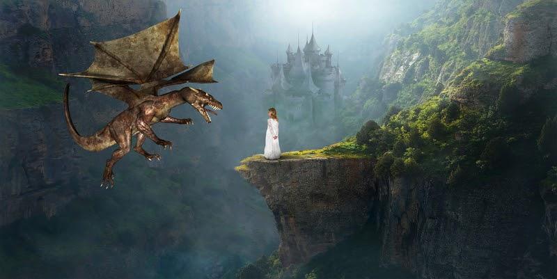 Girl in white dress kills the cliche dragon